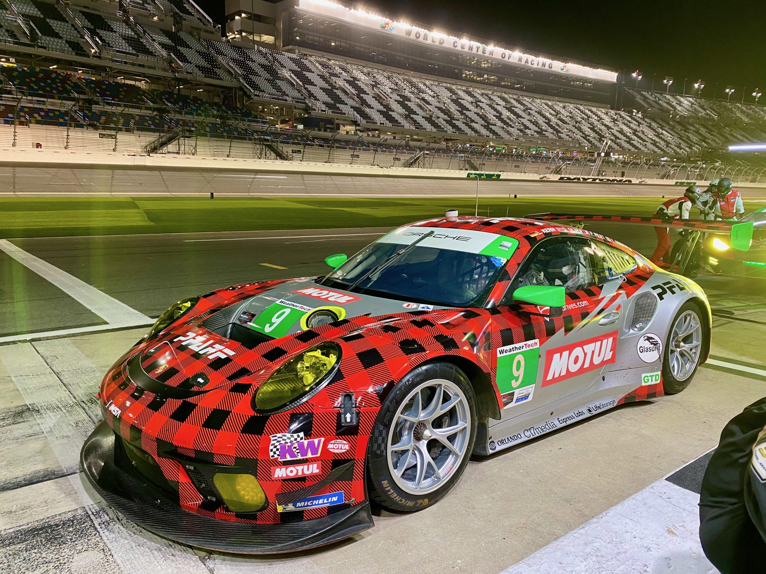 The #9 Pfaff Porsche in the pits at Daytona