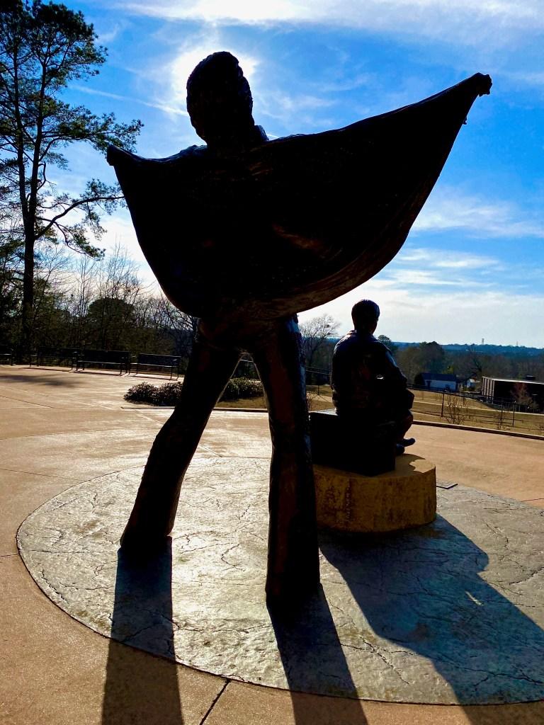 Silhouette of Elvis statue