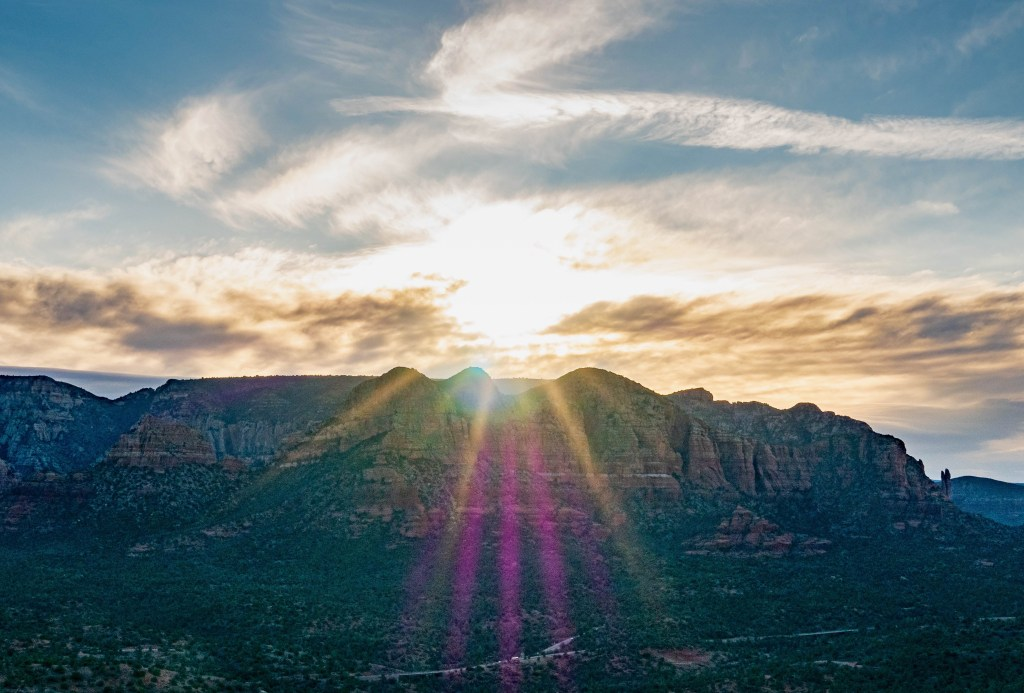 Sunrise viewed from Cathedral Rock in Sedona AZ