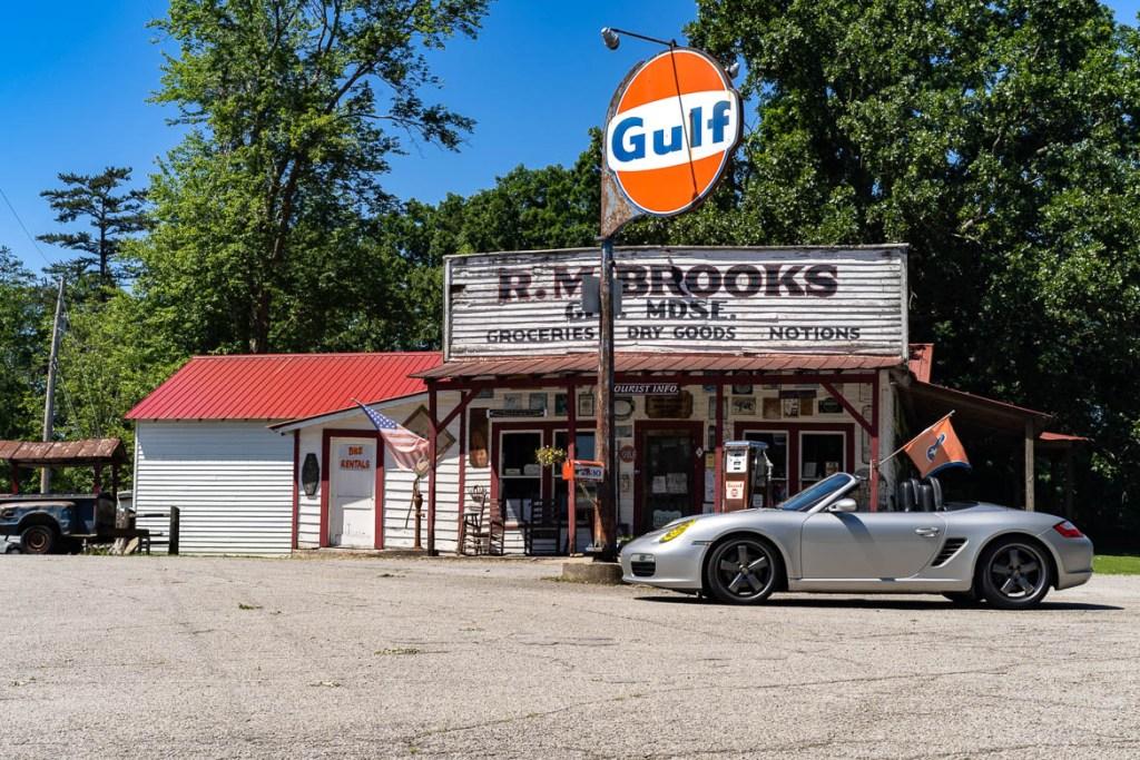 Porsche Boxster at an antique Gulf station