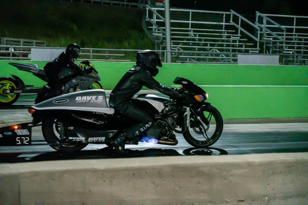 Motorcycle drag racing at Crossville Dragway with flames