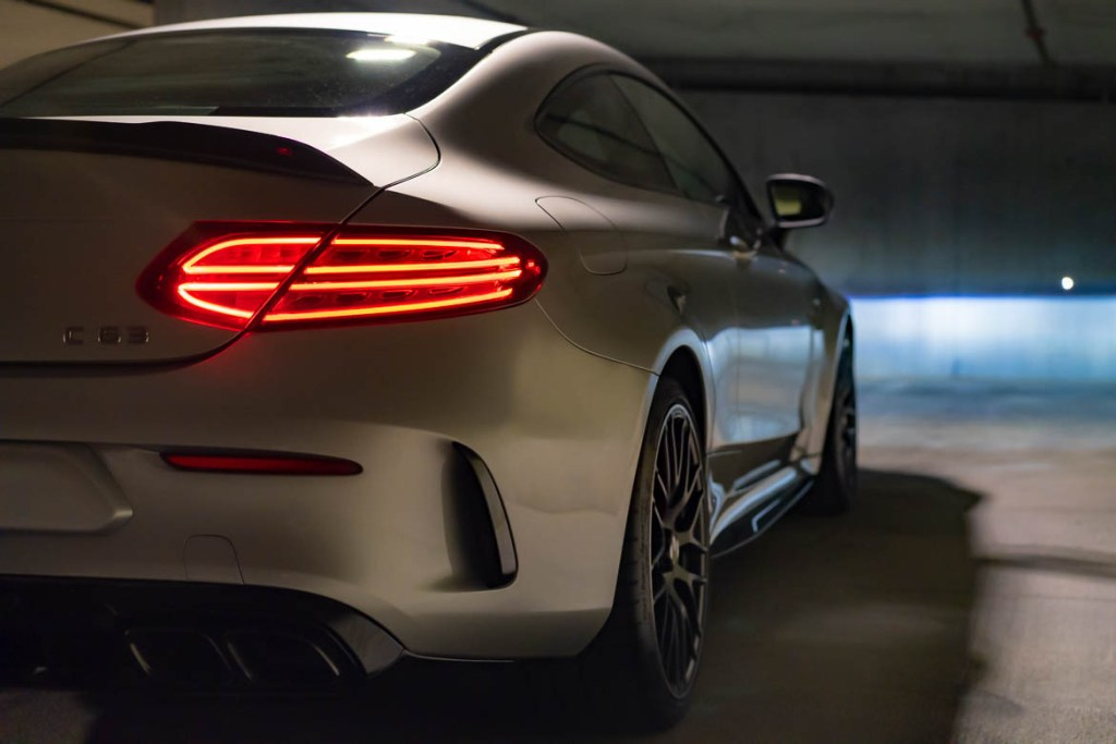 C63 AMG rear 3/4 view